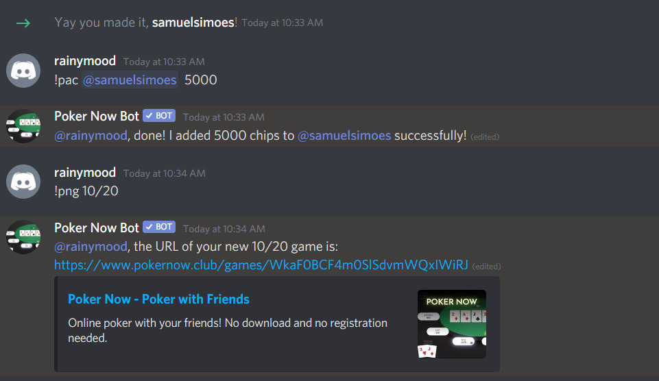 Basic interation with the Discord Poker Now bot