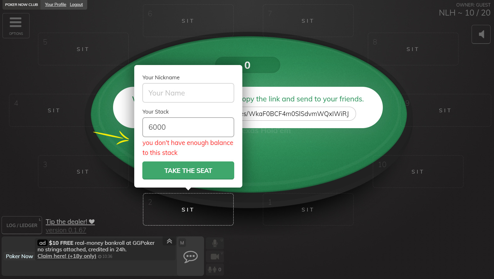 Not being allowed to play on Poker Now because missing chips on Discord Server